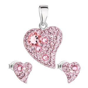 Sada šperkov s krištálmi Swarovski náušnice a prívesok ružová srdce 39170.3 light rose vyobraziť