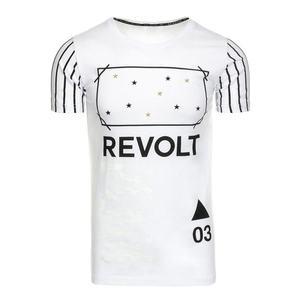 Pánske tričko s potlačou (tričko) biele vyobraziť