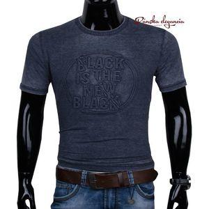 11444-60 Modré pánske tričko s 3D vzorom. vyobraziť