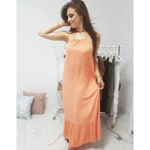 Dámske dlhé šaty oranžovej farby (ey0942) vyobraziť