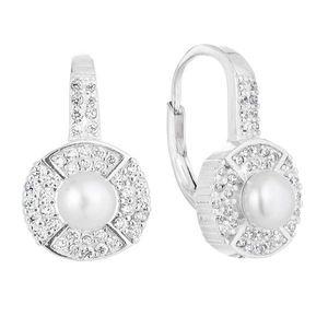 Strieborné náušnice visiace s bielou riečnou perlou 21054.1 vyobraziť