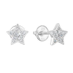 Strieborné náušnice kôstka so zirkónom biela hviezdička 11259.1 vyobraziť