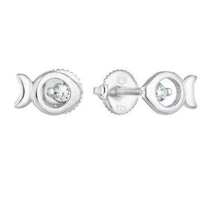 Strieborné náušnice kôstka so zirkónom biela rybička 11286.1 vyobraziť