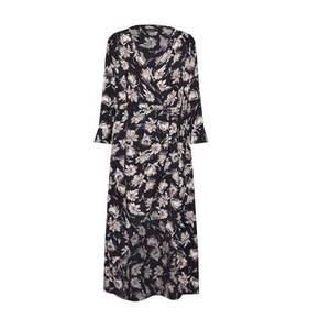 Boohoo Letné šaty 'Floral Wrap Maxi Dress' čierna / biela vyobraziť