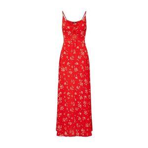 Missguided Letné šaty 'Floral Cami Maxi Dress Red' červené / biela vyobraziť
