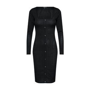 Missguided Šaty 'Slinky Ribbed Long Sleeved Button Front Midi Dress' čierna vyobraziť