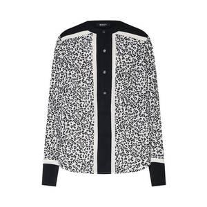 DKNY Blúzka 'MANDARIN COLLAR BLOUSE' zmiešané farby / čierna / biela vyobraziť