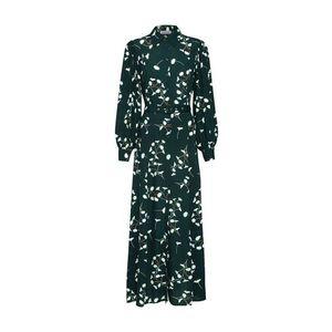 EDITED Košeľové šaty 'Jolanda' zelená / biela vyobraziť