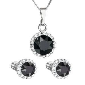 Sada šperkov s krištálmi Swarovski náušnice a prívesok čierne okrúhle 39352.3 vyobraziť