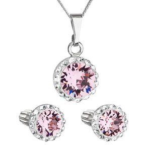 Sada šperkov s krištálmi Swarovski náušnice, retiazka a prívesok ružové okrúhle 39352.3 light rose vyobraziť