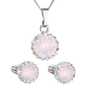 Sada šperkov s krištálmi Swarovski náušnice, retiazka a prívesok ružové opálové okrúhle 39352.7 vyobraziť
