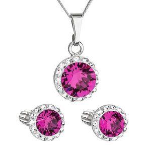 Sada šperkov s krištálmi Swarovski náušnice a prívesok ružové okrúhle 39352.3 fuchsia vyobraziť