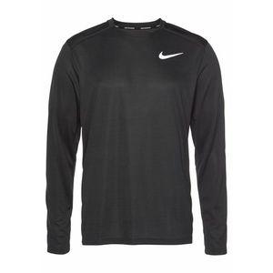 NIKE Funkčné tričko 'M NK DRY MILER TOP LS' svetlosivá / čierna vyobraziť