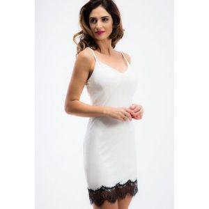 Sexi, smotanové šaty na ramienka s čipkou vyobraziť