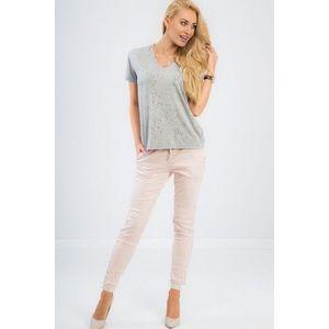 Trendy, ružové nohavice s pásikom na boku vyobraziť