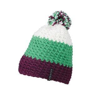 Myrtle Beach Háčkovaná zimná čiapka MB7940 - Fialová / limetkově zelená / bílá | uni vyobraziť