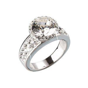 Strieborný prsteň s krištálmi biely 35809.1 vyobraziť