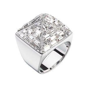 Strieborný prsteň s krištálmi biela pyramída 35810.1 vyobraziť