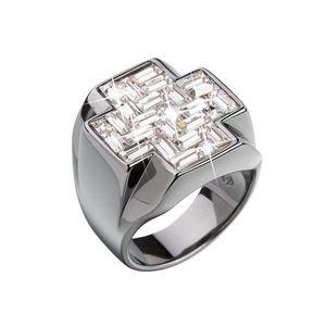 Strieborný prsteň s krištálmi biely kríž 35811.1 vyobraziť