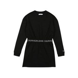 Calvin Klein Jeans Šaty 'LOGO WAISTBAND LS DR' čierna vyobraziť