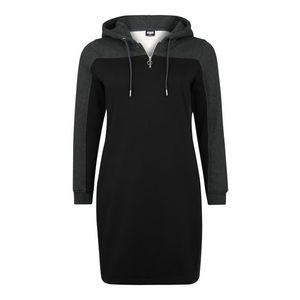 Urban Classics Curvy Šaty 'Ladies 2-Tone Hooded' sivá / čierna vyobraziť