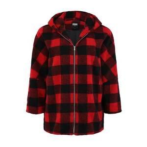 Urban Classics Curvy Prechodná bunda 'Check Sherpa Jac' červené / čierna vyobraziť
