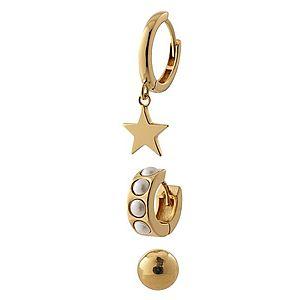 Orelia Sada šperkov 'Chunky pearl and star ear party' zlatá / perlovo biela vyobraziť