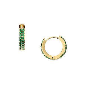 Orelia Náušnice 'Chunky Huggie Hoops' zlatá / zelená vyobraziť