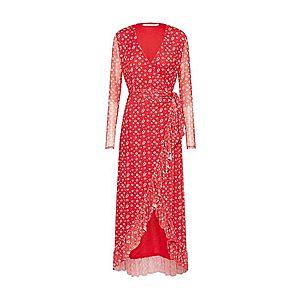 NA-KD Letné šaty 'Mesh Wrap Waist Dress' červené / biela vyobraziť
