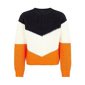 NAME IT Sveter oranžová / čierna / biela vyobraziť