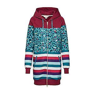 Femi Stories Tepláková bunda 'LONGA' tyrkysová / zmiešané farby / červené vyobraziť