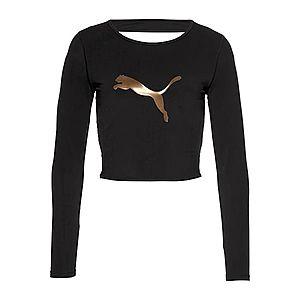 PUMA Funkčné tričko 'Luxe Crop' zlatá / čierna vyobraziť