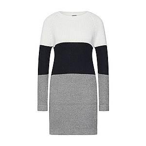Noisy May Pletené šaty 'NMSiesta' sivá melírovaná / čierna / biela vyobraziť