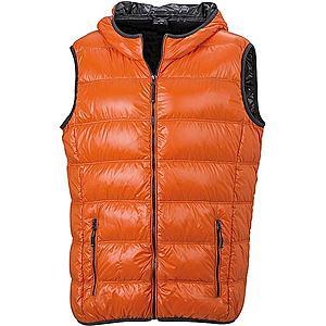 James & Nicholson Ľahká pánska páperová vesta JN1062 - Tmavě oranžová / tmavě šedá   M vyobraziť