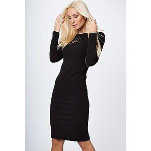 Priliehavé šaty s dlhým rukávom, výstrihom a zipsom na zadnej strane, čierne vyobraziť