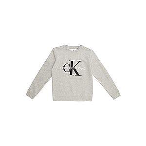 Calvin Klein Jeans Mikina sivá melírovaná / čierna / biela vyobraziť