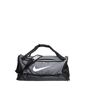 NIKE Športová taška 'BRSLA M DUFF - 9.0' sivá / čierna / biela vyobraziť