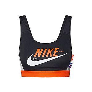 NIKE Športová podprsenka čierna / oranžová / biela vyobraziť