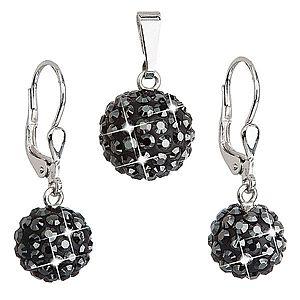 Sada šperkov s krištáľmi Swarovski náušnice a prívesok čierne okrúhle 39072.5 vyobraziť