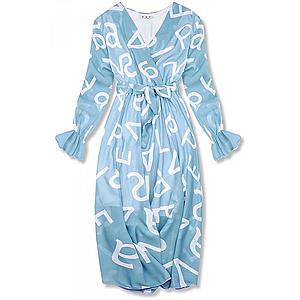 Bledomodré midi šaty s potlačou písmen vyobraziť