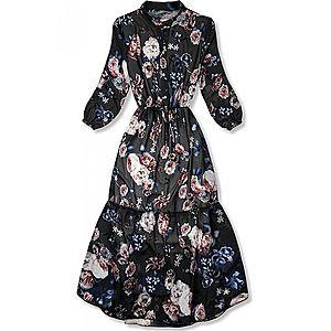 Kvetinové midi šaty čierne vyobraziť