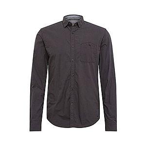 TOM TAILOR DENIM Biznis košeľa 'mini vichy shirt' čierna / kaki vyobraziť