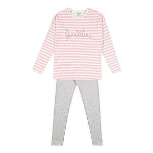 SANETTA Pyžamo ružová / sivá melírovaná / biela vyobraziť
