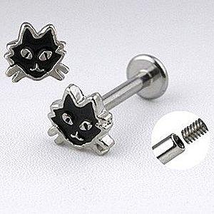 Oceľový labret striebornej farby - mačka s čiernou glazúrou C9.8 vyobraziť