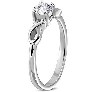 Zásnubný prsteň so zirkónom s dvojitou oceľovou stužkou D5.11 vyobraziť