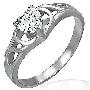 Zásnubný prsteň z chirurgickej ocele - číre zirkónové srdce, ornamenty D4.13 vyobraziť