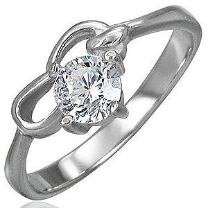 Zásnubný prsteň z chirurgickej ocele so zirkónom čírej farby a dvoma slučkami D7.14 vyobraziť