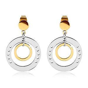 Dvojfarebné náušnice z ocele 316L, veľký kruh s dierkami a menším kruhom G22.09 vyobraziť