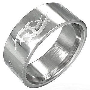 Oceľový prsteň lesklý, matný Tribal symbol D13.15 vyobraziť