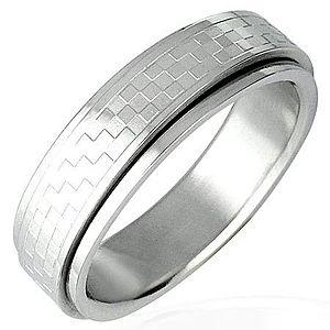 Oceľový prsteň s otáčavým stredom - šachovnica D12.12 vyobraziť